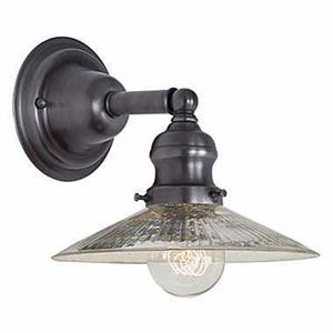 Union Square Gun Metal Eight-Inch Wall Sconce with Antique Mercury Ribbed Glass Shade