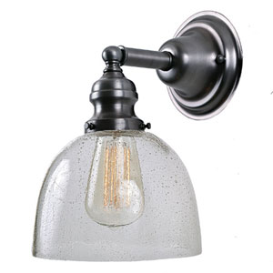 Union Square Seven-Inch Metal Wall Sconce with Seeded Glass