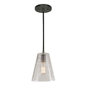 Grand Central Polished Nickel 7.5-Inch Mini Pendant with Crackled Glass Cone Shade