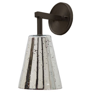 Grand Central Oil Rubbed Bronze Six-Inch Wall Sconce with Antique Mercury Cone Shade