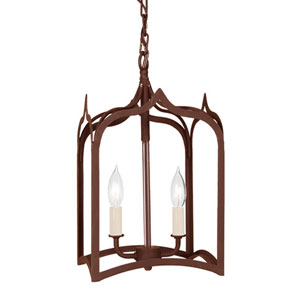Gothic Small Rust Two-Light Lantern Pendant