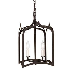 Gothic Small Matte Black Two-Light Lantern Pendant