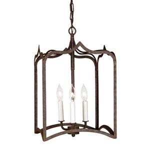 Gothic Medium Rust Three-Light Lantern Pendant