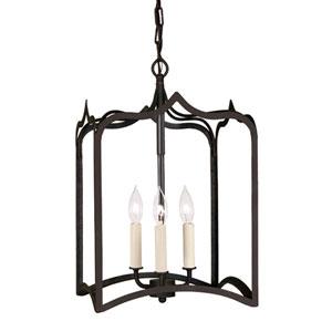 Gothic Medium Matte Black Three-Light Lantern Pendant