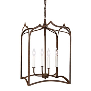 Gothic Large Rust Four-Light Lantern Pendant