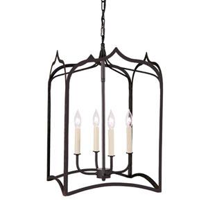 Gothic Large Matte Black Four-Light Lantern Pendant