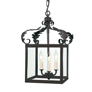 Scroll Small Matte Black Three-Light Lantern Pendant with Glass shade