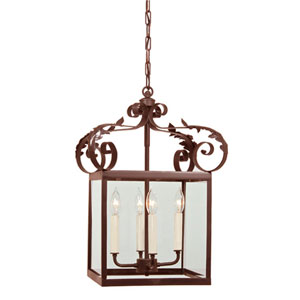 Scroll Large Rust Four-Light Lantern Pendant with Glass shade