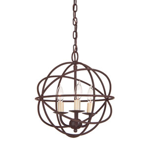 Rust Three Light Hammered Globe Chandelier