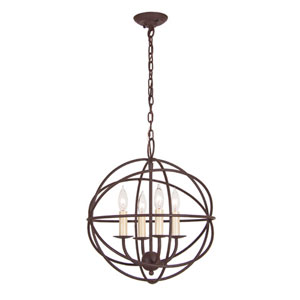 Rust Four Light Hammered Globe Chandelier