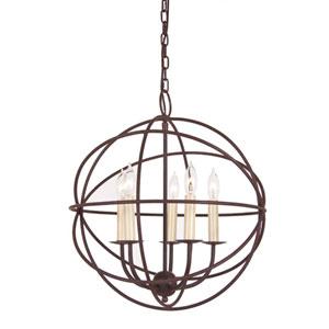 Rust Five Light Hammered Globe Chandelier