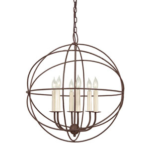 Globe Rust Six Light Chandelier
