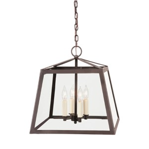 Troy Oil Rubbed Bronze Four-Light Large Lantern Pendant with Clear Glass