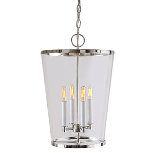Charleston Polished Nickel Four Light Pendant