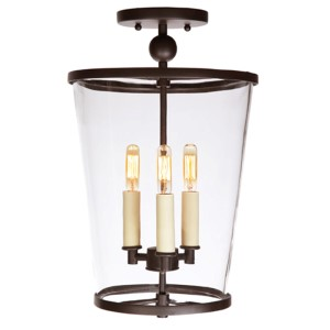 Charleston Polished Nickel Three-Light Medium Semi Flush Mount