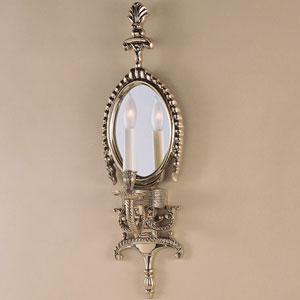 Antique Mirror Antique Brass One-Light Wall Sconce