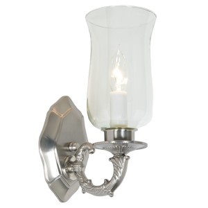 Pewter and Satin Nickel One-Light Wall Sconce with Hurricane Shade