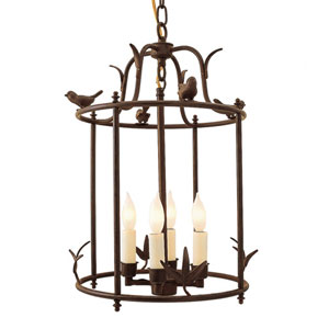 Bird Cage Rust Four-Light Lantern Pendant