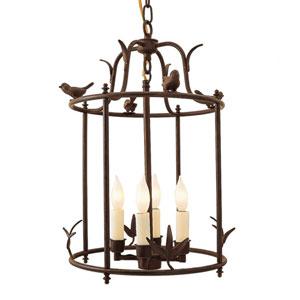 Bird Cage Rust Four-Light Lantern Pendant