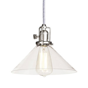 Union Square Pewter Pendant w/ 10-Inch Clear Glass Shade