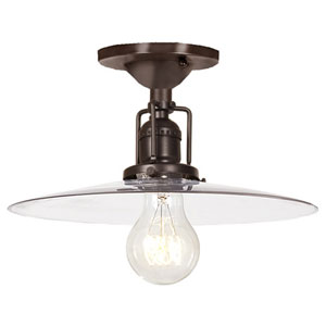 Union Square Oil Rubbed Bronze One Light Flush Mount with 10-Inch Clear Blown Glass Shade