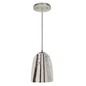 Grand Central Pewter One Light Mini Pendant with 6-Inch Antique Mercury Blown Glass Shade