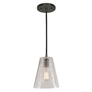 Grand Central Gun Metal One Light Mini Pendant with 7.5-Inch Crackled Blown Glass Shade