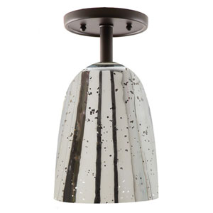 Grand Central Oil Rubbed Bronze One Light Flush Mount with 6-Inch Antique Mercury Blown Glass Shade