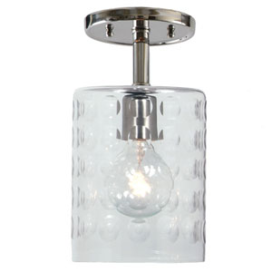 Grand Central Polished Nickel One Light Flush Mount with 6-Inch Hammered Blown Glass Shade