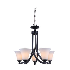 Rue Rubbed Antique Bronze Five-Light Chandelier