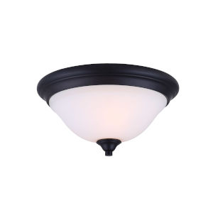 Rue Rubbed Antique Bronze Two-Light Flush Mount