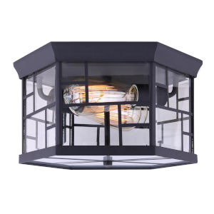 Chantry Black Two-Light Outdoor Flush Mount