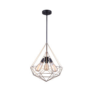 Greer Matte Black and Gold Three-Light Pendant