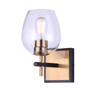 Cain Black and Gold One-Light Bath Vanity