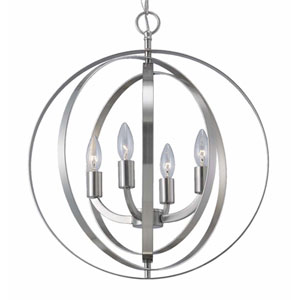 Meridian Brushed Nickel Four-Light Chandelier