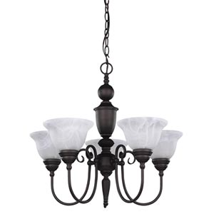 Julianna Oil Rubbed Bronze Five-Light Chandelier with White Alabaster Glass