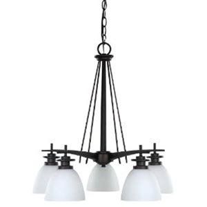 New Yorker Oil Rubbed Bronze Five-Light Chandelier with Flat White Opal Glass