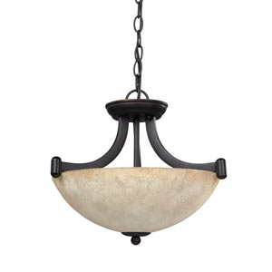 Warren Rubbed Antique Three-Light Convertible Bowl Pendant with Tea Stained Glass