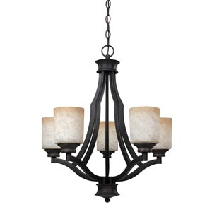 Warren Rubbed Antique Five-Light Chandelier with Tea Stained Glass