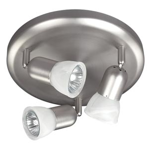 James Brushed Pewter Three-Light Directional Spot with White Alabaster Glass