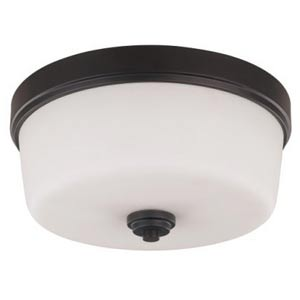 Jackson Oil Rubbed Bronze Three-Light Flush Mount with Flat White Opal Glass