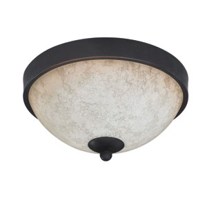 Warren Rubbed Antique Two Light Flush Mount with Tea Stained Glass