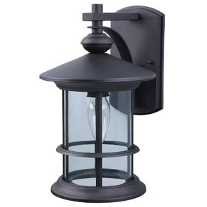 Treehouse Black One-Light Outdoor Wall Light with Clear Glass