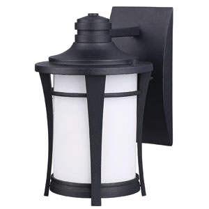 Maya Black Outdoor One Light Wall Light with White Flat Opal Glass