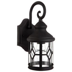 Atlanta Black 13-Inch One Light Outdoor Wall Light with Clear Seeded Glass
