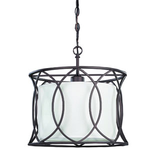 Monica Oil Rubbed Bronze One-Light Drum Pendant with White Fabric Shade