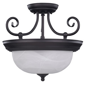 Julianna Oil Rubbed Bronze Two Light Semi-Flush with White Alabaster Glass