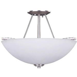 New Yorker Brushed Pewter Three-Light Semi-Flush with Flat White Opal Glass
