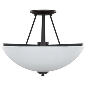 New Yorker Oil Rubbed Bronze Three-Light Semi-Flush with Flat White Opal Glass