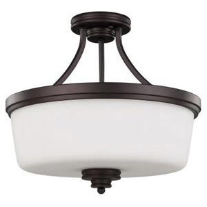 Jackson Oil Rubbed Bronze Three-Light Semi-Flush with Flat White Opal Glass